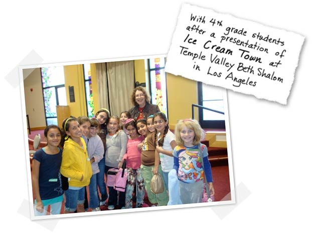 Rona Arato with 4th grade students after a presentation of Ice Cream Town at Temple Valley Beth Shalom in Los Angeles