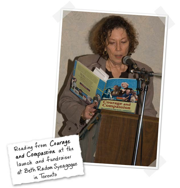Rona Arato reading from Courage and Compassion at the launch and fundraiser at Beth Radom Synagogue in Toronto