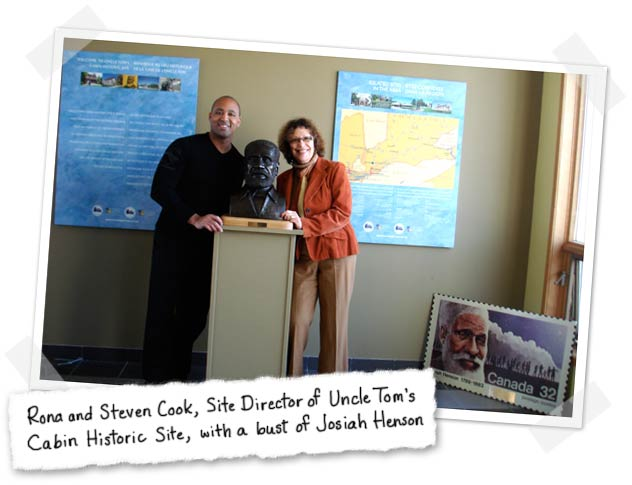 Rona Arato and Steven Cook, Site Director of Uncle Tom's Cabin Historic Site, with a bust of Josiah Henson
