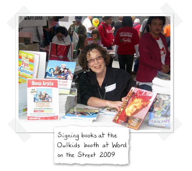 Rona Arato signing books at the Owlkids booth at Word on the Street 2009